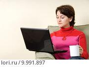 Купить «woman surfing the net in livingroom on couch», фото № 9991897, снято 15 сентября 2019 г. (c) PantherMedia / Фотобанк Лори