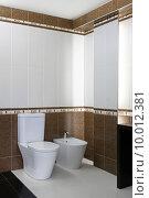 Купить «Toilet and bidet seat in new bathroom», фото № 10012381, снято 21 марта 2019 г. (c) PantherMedia / Фотобанк Лори