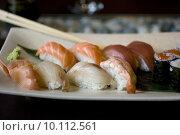 Купить «Photo of Sushi, Delicious Japanese food», фото № 10112561, снято 18 июня 2019 г. (c) PantherMedia / Фотобанк Лори