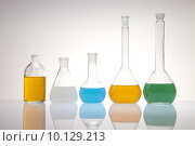 Купить «Laboratory flasks with fluids of different colors », фото № 10129213, снято 18 августа 2018 г. (c) PantherMedia / Фотобанк Лори