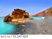 Купить «Lanzarote El Golfo Lago de los Clicos», фото № 10247429, снято 22 апреля 2019 г. (c) PantherMedia / Фотобанк Лори
