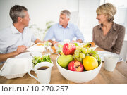 Купить «Smiling business colleagues having lunch together», фото № 10270257, снято 5 мая 2015 г. (c) Wavebreak Media / Фотобанк Лори
