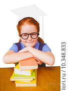 Купить «Composite image of cute pupil at desk», фото № 10348833, снято 4 апреля 2020 г. (c) Wavebreak Media / Фотобанк Лори