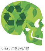 Купить «Think Green Skull with Recycle Logo Green Leaves and World Map in Silhouette Illustration», фото № 10376181, снято 24 января 2019 г. (c) PantherMedia / Фотобанк Лори