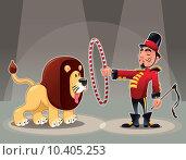 Купить «Lion Tamer with lion.», фото № 10405253, снято 17 сентября 2019 г. (c) PantherMedia / Фотобанк Лори