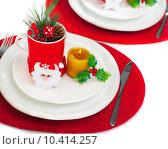 Christmastime table setting. Стоковое фото, фотограф Anna Omelchenko / PantherMedia / Фотобанк Лори
