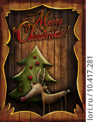 Купить «Christmas card - Rudolph with tree in wooden frame», фото № 10417281, снято 16 июня 2019 г. (c) PantherMedia / Фотобанк Лори