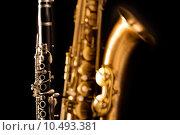 Купить «Classic music Sax tenor saxophone and clarinet in black», фото № 10493381, снято 18 марта 2019 г. (c) PantherMedia / Фотобанк Лори