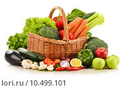 Купить «raw vegetables in wicker basket isolated on white», фото № 10499101, снято 20 марта 2019 г. (c) PantherMedia / Фотобанк Лори