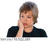 Купить «Задумчивый подросток на белом фоне», фото № 10522285, снято 20 июля 2015 г. (c) Недзельская Татьяна / Фотобанк Лори