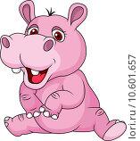Купить «Cute hippo cartoon sitting», фото № 10601657, снято 21 мая 2018 г. (c) PantherMedia / Фотобанк Лори