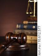 Купить «Judges wooden gavel», фото № 10612577, снято 6 июля 2020 г. (c) PantherMedia / Фотобанк Лори
