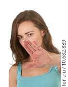 Купить «woman hand stop refuse rejection», фото № 10682889, снято 21 марта 2019 г. (c) PantherMedia / Фотобанк Лори