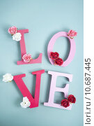 Купить «food love pink text dessert», фото № 10687445, снято 27 июня 2019 г. (c) PantherMedia / Фотобанк Лори