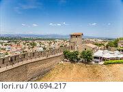 Купить «Каркасон, Франция. Пейзаж с крепостной стеной, башней и видом нижнего города», фото № 10694217, снято 19 июля 2015 г. (c) Rokhin Valery / Фотобанк Лори