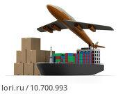 Купить «Cargo ship and luggage's with airline», фото № 10700993, снято 18 июля 2018 г. (c) PantherMedia / Фотобанк Лори