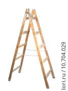 Купить «Old wooden ladder isolated on white», фото № 10704029, снято 21 мая 2019 г. (c) PantherMedia / Фотобанк Лори