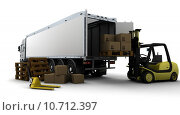 Купить «Yellow Fork Lift Truck Isolated on White», фото № 10712397, снято 24 мая 2018 г. (c) PantherMedia / Фотобанк Лори