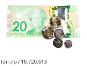 Купить «Ottawa, Canada, Avril 13, 2013,  All the actual Canadian Money Isolated on White», фото № 10720613, снято 23 октября 2019 г. (c) PantherMedia / Фотобанк Лори