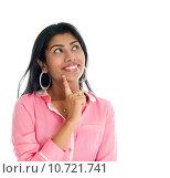 Купить «Indian woman thinking.», фото № 10721741, снято 15 октября 2019 г. (c) PantherMedia / Фотобанк Лори