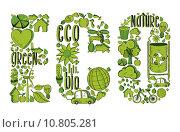 Купить «Word eco with environmental icons», иллюстрация № 10805281 (c) PantherMedia / Фотобанк Лори
