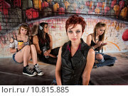 Купить «Woman with Distracted Friends», фото № 10815885, снято 18 февраля 2019 г. (c) PantherMedia / Фотобанк Лори