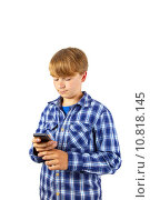 Купить «cute handsome young boy speaking a mobile phone », фото № 10818145, снято 19 ноября 2018 г. (c) PantherMedia / Фотобанк Лори