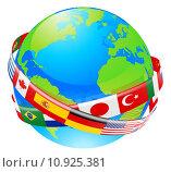 Купить «A earth globe with flags of countries», иллюстрация № 10925381 (c) PantherMedia / Фотобанк Лори