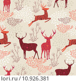 Купить «Vintage Christmas elements seamless pattern background. EPS10 file.», иллюстрация № 10926381 (c) PantherMedia / Фотобанк Лори