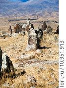 Купить «menhirs of Zorats Karer - monument in Armenia», фото № 10951913, снято 16 декабря 2018 г. (c) PantherMedia / Фотобанк Лори