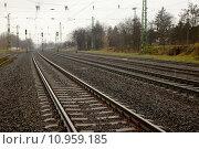 Купить «Railway tracks and signs», фото № 10959185, снято 20 июня 2019 г. (c) PantherMedia / Фотобанк Лори