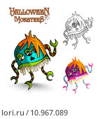 Купить «Halloween monsters scary cartoon freak EPS10 file.», иллюстрация № 10967089 (c) PantherMedia / Фотобанк Лори