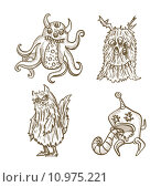 Купить «Halloween monsters isolated sketch style creatures set.», иллюстрация № 10975221 (c) PantherMedia / Фотобанк Лори