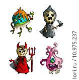 Купить «Halloween monsters isolated sketch style creatures set.», иллюстрация № 10975237 (c) PantherMedia / Фотобанк Лори