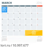 Шаблон дизайна календаря-планировщика на 2016 год с местом для фото и заметок. Март. Неделя начинается с понедельника. Стоковая иллюстрация, иллюстратор Михаил Моросин / Фотобанк Лори