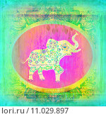 Купить «Vintage Indian ornament with an elephant», иллюстрация № 11029897 (c) PantherMedia / Фотобанк Лори