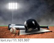 Купить «Baseball Equipment under spotlight», фото № 11101997, снято 25 апреля 2019 г. (c) PantherMedia / Фотобанк Лори