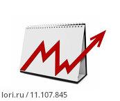 Купить «Desktop Calender with Arrow Chart», фото № 11107845, снято 26 мая 2019 г. (c) PantherMedia / Фотобанк Лори
