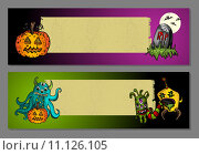 Купить «Halloween monsters blank space web banners set EPS10 file.», иллюстрация № 11126105 (c) PantherMedia / Фотобанк Лори