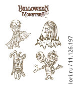 Купить «Halloween Monsters spooky characters set EPS10 file», иллюстрация № 11126197 (c) PantherMedia / Фотобанк Лори