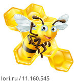 Купить «Cute Cartoon Bee and Honeycomb», иллюстрация № 11160545 (c) PantherMedia / Фотобанк Лори