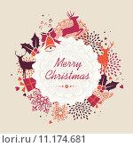 Купить «Merry Christmas label retro composition vector file.», иллюстрация № 11174681 (c) PantherMedia / Фотобанк Лори