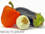 Купить «eggplant with pepper and garlic», фото № 11233413, снято 24 июня 2019 г. (c) PantherMedia / Фотобанк Лори