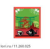 Купить «banner with a kettle, the scenery and the Chinese character Tea», иллюстрация № 11260025 (c) PantherMedia / Фотобанк Лори
