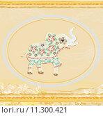 Купить «Vintage Indian ornament with an elephant», иллюстрация № 11300421 (c) PantherMedia / Фотобанк Лори