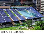 Купить «Solar panel on building roof top», фото № 11315065, снято 18 июня 2019 г. (c) PantherMedia / Фотобанк Лори