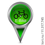 Купить «map pointer with E-Bike», фото № 11317745, снято 16 ноября 2018 г. (c) PantherMedia / Фотобанк Лори
