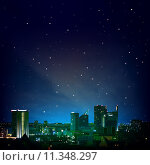 Купить «abstract night background with city and stars», фото № 11348297, снято 10 октября 2019 г. (c) PantherMedia / Фотобанк Лори