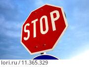 Купить «Stop sign», фото № 11365329, снято 20 июля 2018 г. (c) PantherMedia / Фотобанк Лори
