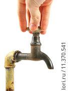 Купить «Hand turning the old rusty tap», фото № 11370541, снято 19 сентября 2019 г. (c) PantherMedia / Фотобанк Лори